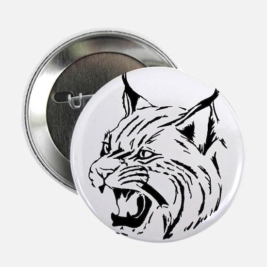 """Tiger Wildcat Cat Head Face Lineart A 2.25"""" Button"""