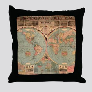 Vintage Map of The World (1883) Throw Pillow