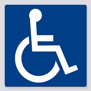 "Handicap Sign Square Car Magnet 3"" x 3"""