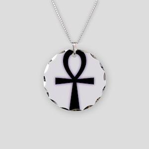 Ankh (Black, Purple Glow) Necklace Circle Charm