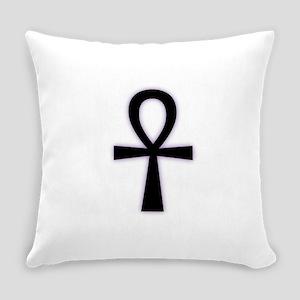 Ankh (Black, Purple Glow) Everyday Pillow