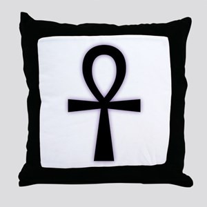 Ankh (Black, Purple Glow) Throw Pillow