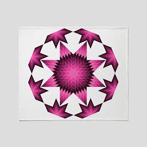Native Star Burst Dark Pink Throw Blanket