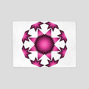 Native Star Burst Dark Pink 5'x7'Area Rug