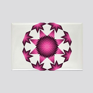 Native Star Burst Dark Pink Rectangle Magnet