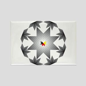 Native Star Burst Grey Rectangle Magnet