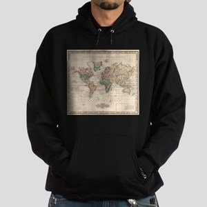 Vintage Map of The World (1833) Hoodie (dark)