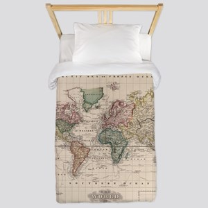Vintage Map of The World (1833) Twin Duvet