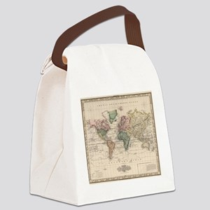 Vintage Map of The World (1833) Canvas Lunch Bag