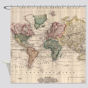Vintage Map of The World (1833) Shower Curtain