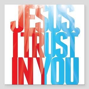 "Jesus I Trust in You Square Car Magnet 3"" x 3"""