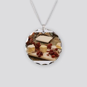 fresh red grapes and goat ch Necklace Circle Charm
