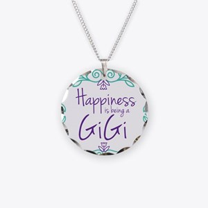 Happiness is being a GiGi Necklace Circle Charm