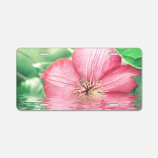 Water Flower Aluminum License Plate