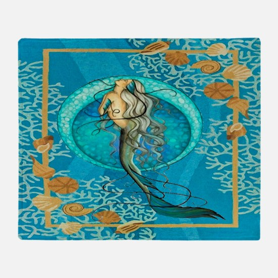 Nautical Mermaid Throw Blanket