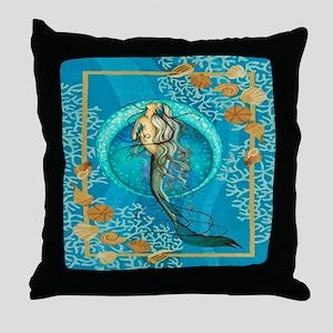 Nautical Mermaid Throw Pillow