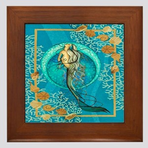 Nautical Mermaid Framed Tile