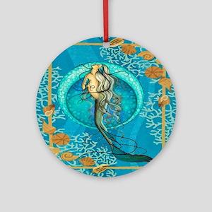 Nautical Mermaid Round Ornament