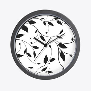 Elegant Leaves Wall Clock