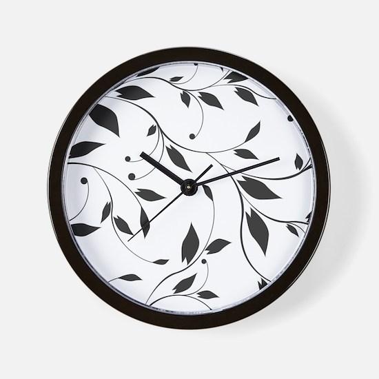 Elegant Leaves Wall Clock