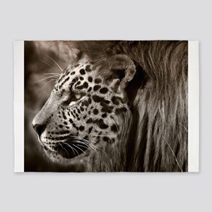 Lion Leopard Jaguar Cat Head Face A 5'x7'Area Rug