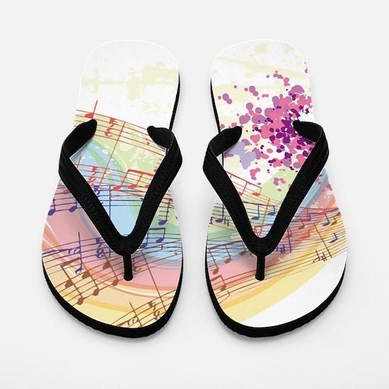Colorful Music Flip Flops