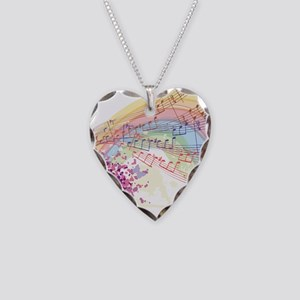 Colorful Music Necklace Heart Charm