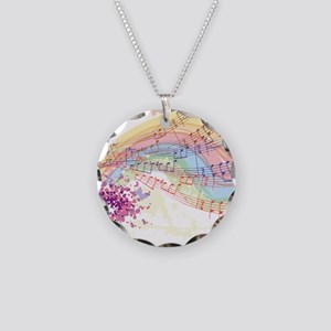 Colorful Music Necklace Circle Charm