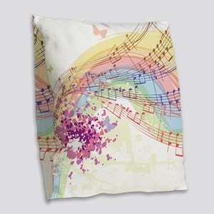 Colorful Music Burlap Throw Pillow