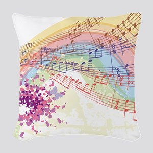 Colorful Music Woven Throw Pillow