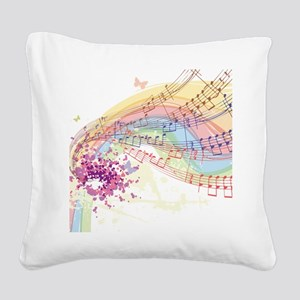 Colorful Music Square Canvas Pillow