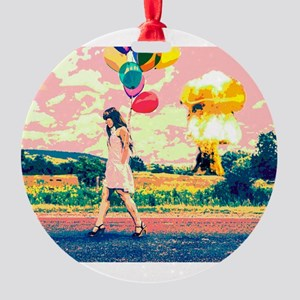 Apocalyptic Atom Bomb Balloon Woman Round Ornament