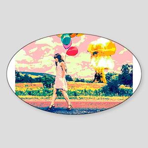 Apocalyptic Atom Bomb Balloon Woman Sticker