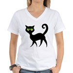Cat With Green Eyes Women's V-Neck T-Shirt