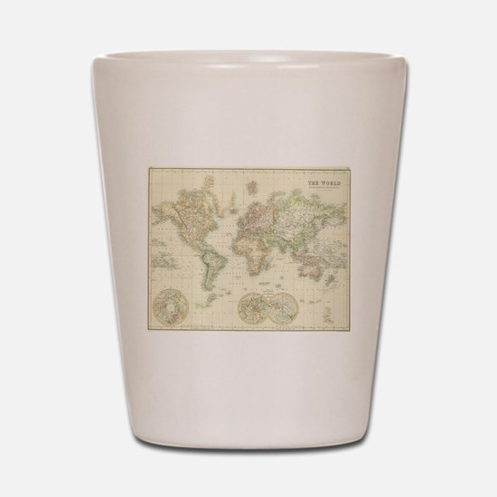 Vintage Map of The World (1872) Shot Glass