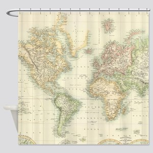 Vintage Map of The World (1872) Shower Curtain