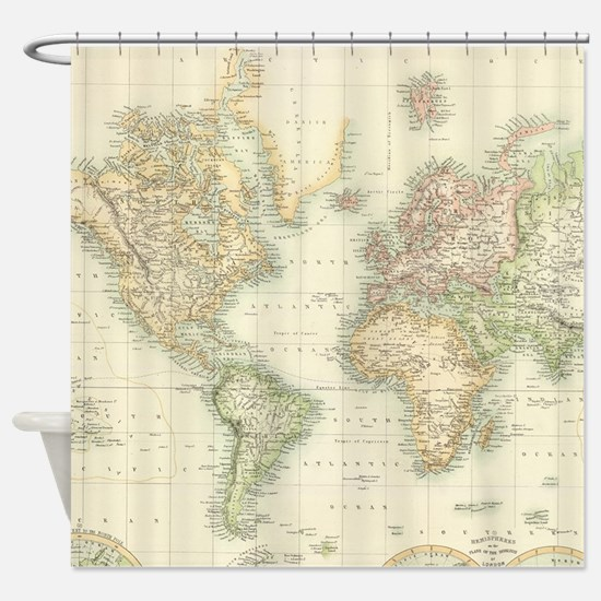 Old world map shower curtains cafepress vintage map of the world 1872 shower curtain sciox Gallery