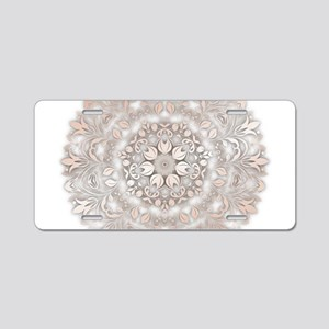 Rose Gold White Floral Mand Aluminum License Plate