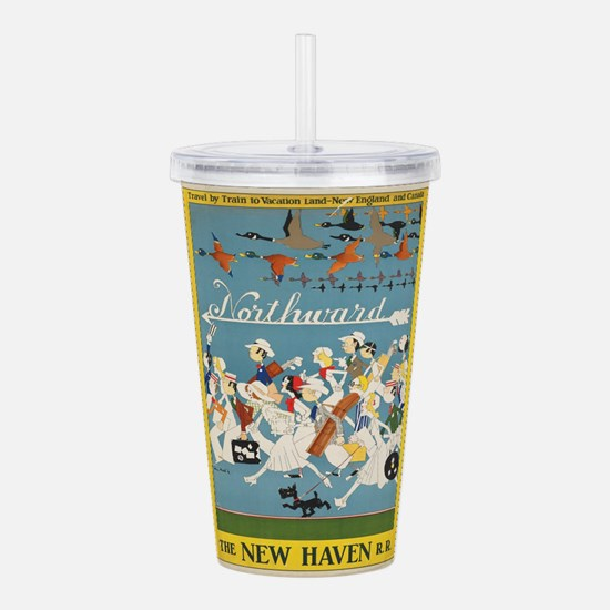 Vintage poster - New H Acrylic Double-wall Tumbler