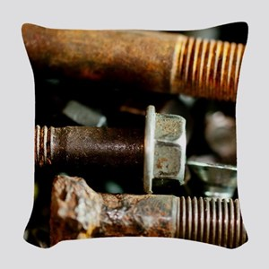 Rusty Old Nuts And Bolts Woven Throw Pillow