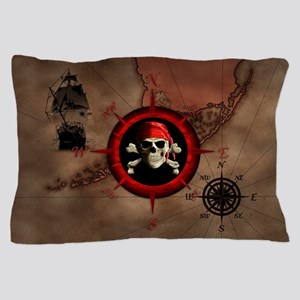 Pirate Compass Rose And Map Pillow Case