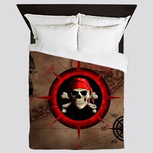 Pirate Compass Rose And Map Queen Duvet