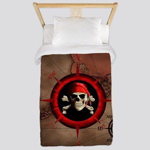 Pirate Compass Rose And Map Twin Duvet