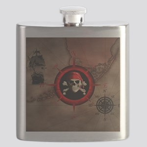 Pirate Compass Rose And Map Flask