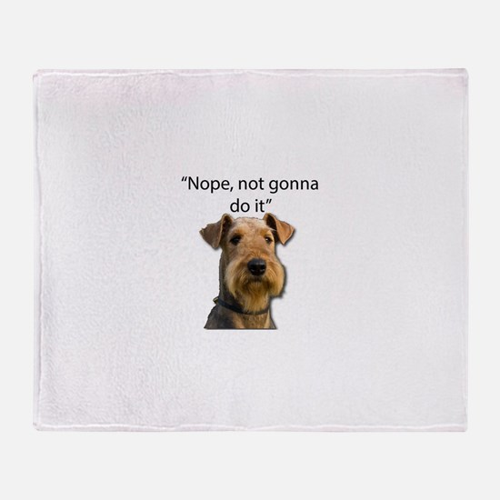 Airedale Terrier Stubborn Sayings Throw Blanket