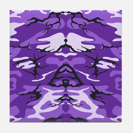 Purple Camouflage Tile Coaster