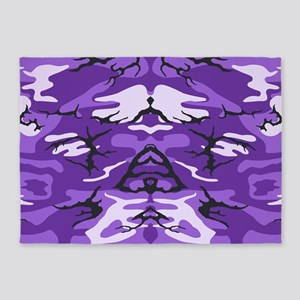 Purple Camouflage 5'x7'Area Rug