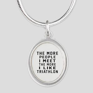 I Like More Triathlon Silver Oval Necklace