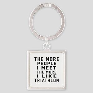 I Like More Triathlon Square Keychain