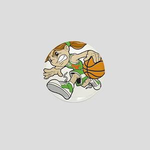 BASKET GIRL GREEN ORANGE RIBBON Mini Button